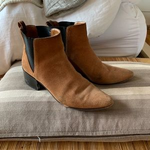 Camel colored suede Zara Chelsea boots
